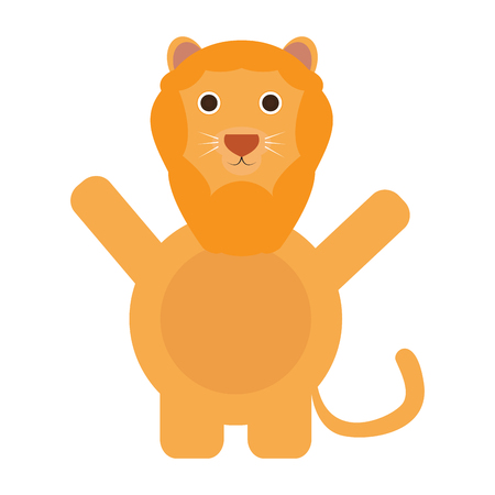 Isolated cute lion on a white background, Vector illustration
