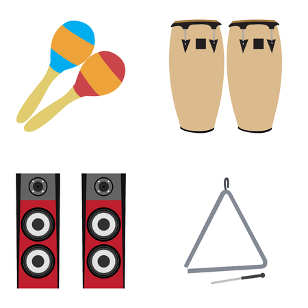electronic music: Set of musical instruments on a white background, Vector illustration