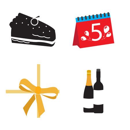 Set of birthday icons on a white background, Vector illustration Illustration
