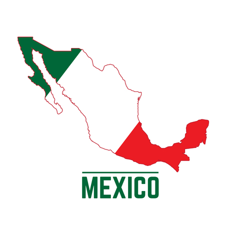 Flag and map of Mexico, Vector illustration 矢量图像