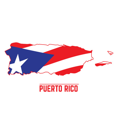 Flag and map of Puerto Rico, Vector illustration