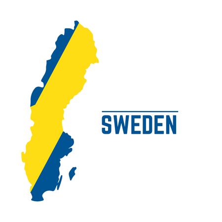 Flag and map of Sweden, Vector illustration