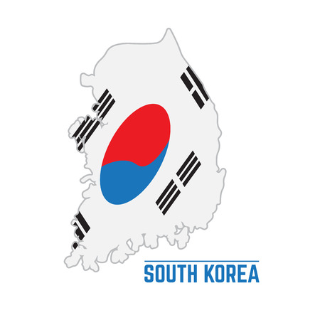 Flag and map of South Korea, Vector illustration