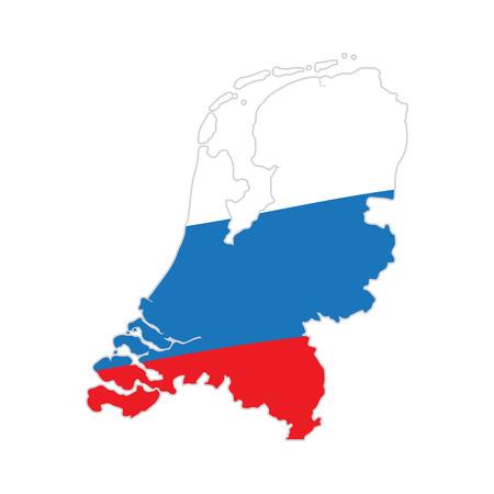Vlag en kaart van Nederland, vectorillustratie