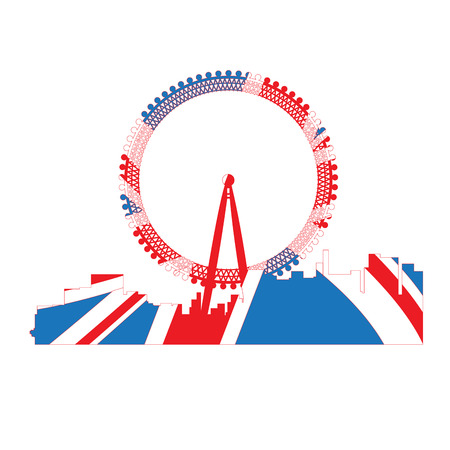 Isolated cityscape of London with the flag of the United Kingdom, Vector illustration