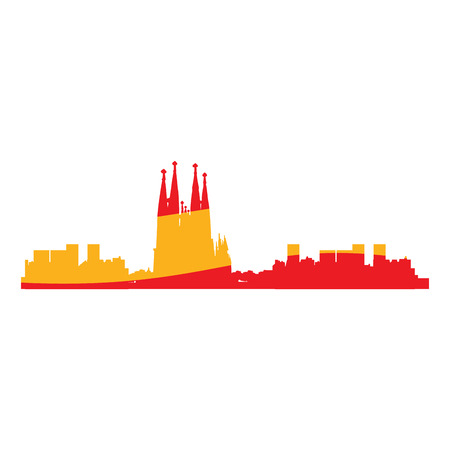 barcelona: Isolated cityscape of Barcelona with the flag of Spain, Vector illustration