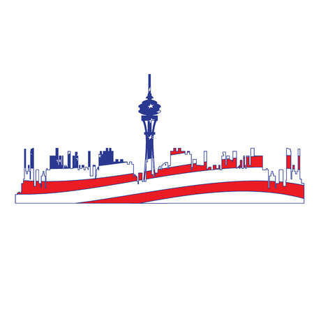 Isolated cityscape of Seattle with the flag of the United States, Vector illustration