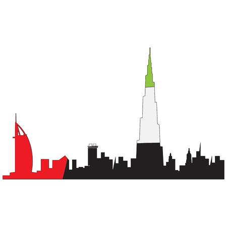아랍 에미리트, 벡터 일러스트 레이 션의 국기와 두바이의 고립 된 도시 일러스트