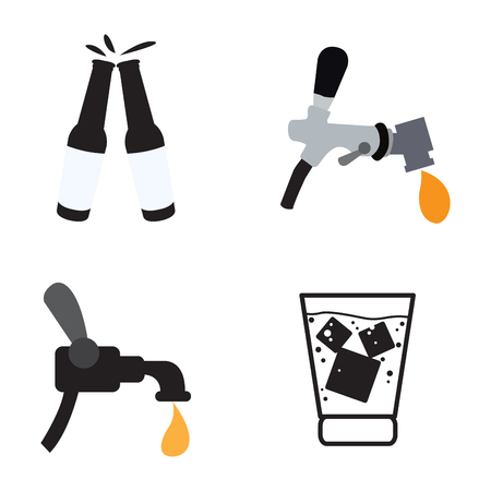 Set of beer icons on a white background, Vector illustration Vetores
