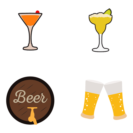 Set of beer icons on a white background, Vector illustration