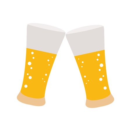 Isolated pair of beer glasses on a white background, Vector illustration