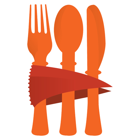 Isolated set of cutlery on a white background, vector illustration