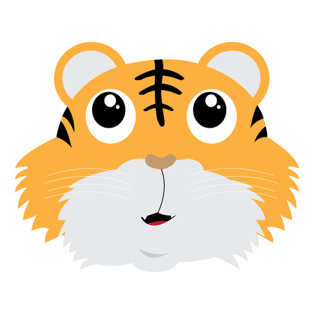 Isolated avatar of tiger on a white background, vector illustration