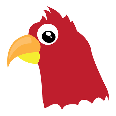 Isolated avatar of red makaw on a white background, vector illustration
