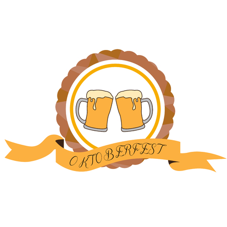 Isolated pair of beer glasses, Oktoberfest vector illustration Illustration