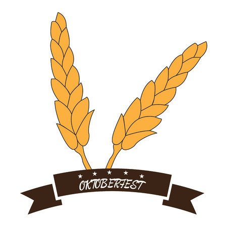 brewery: Isolated pair of wheats and a ribbon, Oktoberfest vector illustration