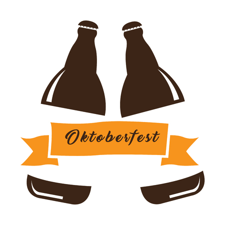 Isolated pair of beer bottles, Oktoberfest Vector illustration
