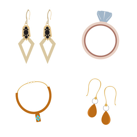 Set of jewelry pieces on a white background, Vector illustration Illustration
