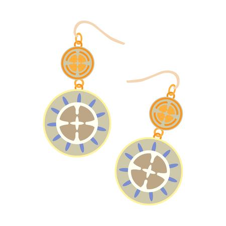 diamond earrings: Isolated earrings on a white background, Vector illustration