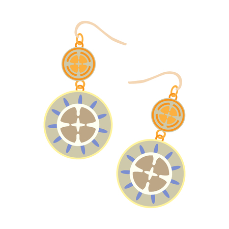 Isolated earrings on a white background, Vector illustration