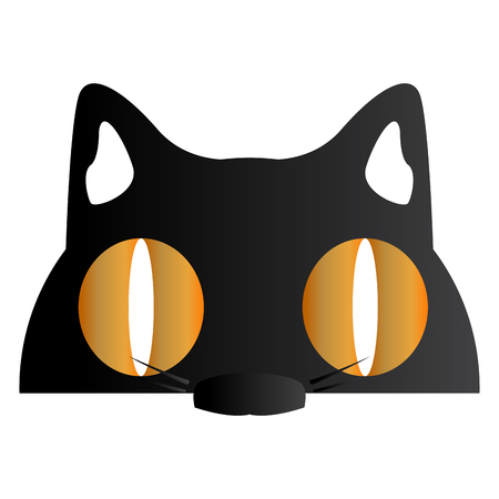 Isolated halloween cat mask on a white background, Vector illustration