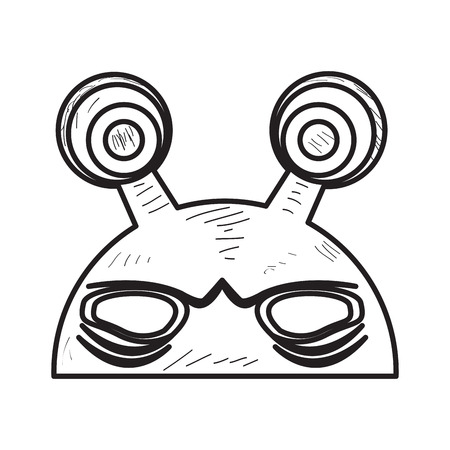 Geïsoleerd uitstekend vreemd masker op een witte achtergrond, Vectorillustratie