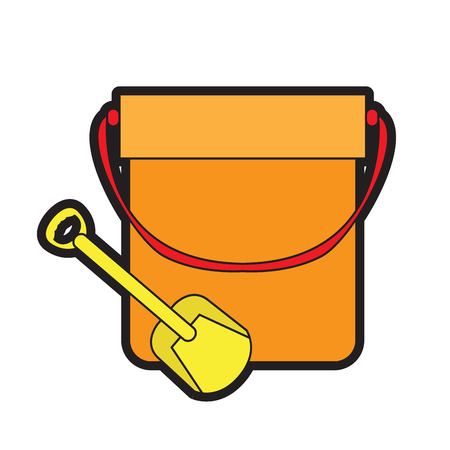 Isolated sand bucket and shovel toy on a white background, Vector illustration