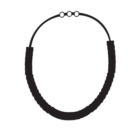 platinum: Isolated silhouette of a necklace, Vector illustration