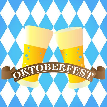 Isolated pair of beer glass, Oktoberfest vector illustration