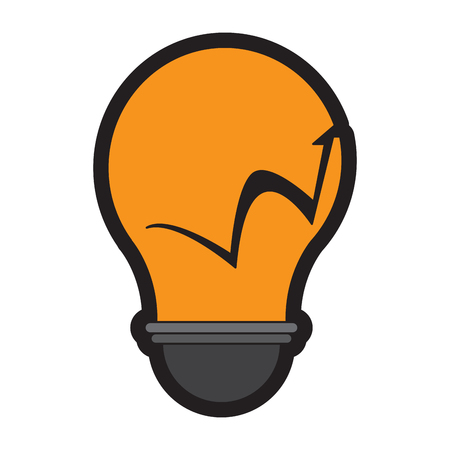 Isolated lightbulb with a business graph, Vector illustration