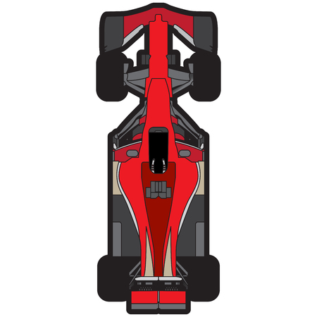 car isolated: Top view of a racing car, Vector illustration