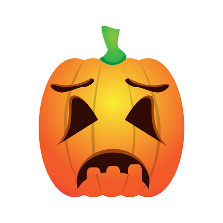 Isolated sad jack-o-lantern on a white background, Vector illustration Çizim