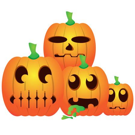 Set of jack-o-lanterns on a white background, Vector illustration