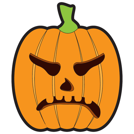 Isolated angry jack-o-lantern on a white background, Vector illustration