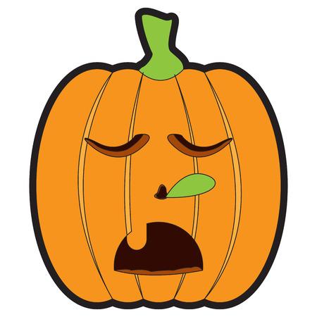Isolated asleep jack-o-lantern on a white background, Vector illustration