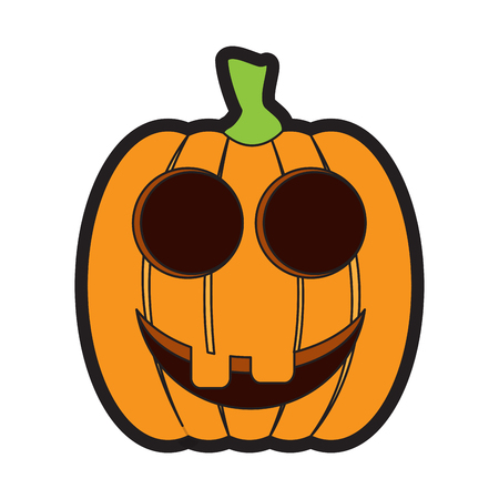 Isolated happy jack-o-lantern on a white background, Vector illustration Illustration