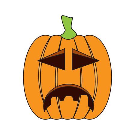 Isolated sad jack-o-lantern on a white background, Vector illustration Illustration