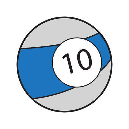 Isolated billiard ball on a white background, Vector illustration