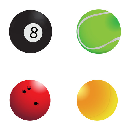 Set of sport balls on a white background, Vector illustration Illustration