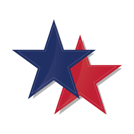 Pair of colored american stars on a white background, Vector illustration Illustration