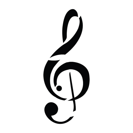 Isolated musical note silhouette on a white background, vector illustration Illustration