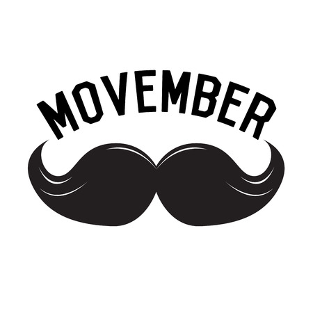 Isolated mustache and text, Movember vector illustration
