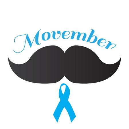 Isolated ribbon and a mustache, Movember vector illustration Illusztráció
