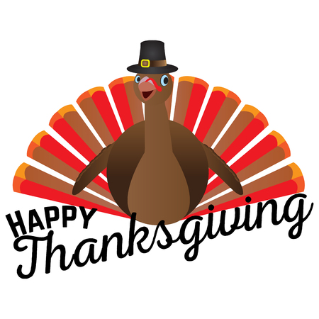 Isolated turkey icon with a pilgrim hat, Thanksgiving day vector illustration