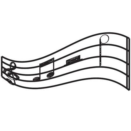 Isolato pentagramma con note musicali, illustrazione vettoriale Archivio Fotografico - 87741779