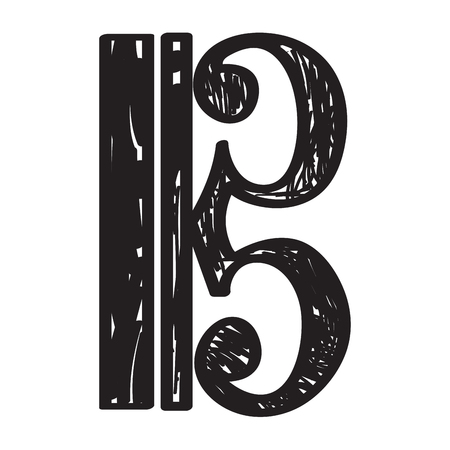 Isolated sketch of a musical note, alto clef, Vector illustration