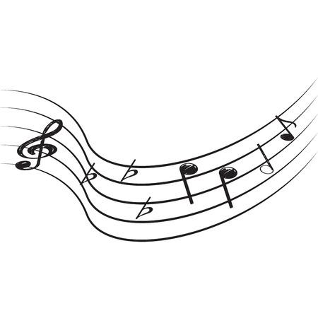 Pentagram aislado con notas musicales, ilustración vectorial