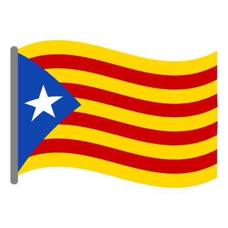 Bandeira isolada da Catalunha em um fundo branco, ilustração vetorial