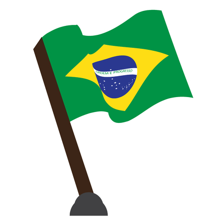 Isolated flag of Brazil on a white background, Vector illustration Illustration