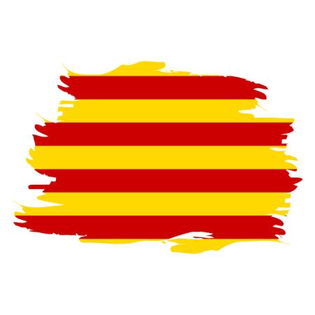 白の背景にカタルーニャの孤立した旗、ベクトルイラスト  イラスト・ベクター素材